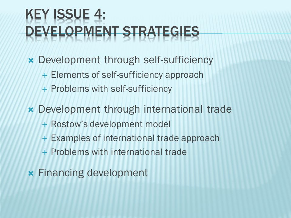Key Issue 4: Development Strategies