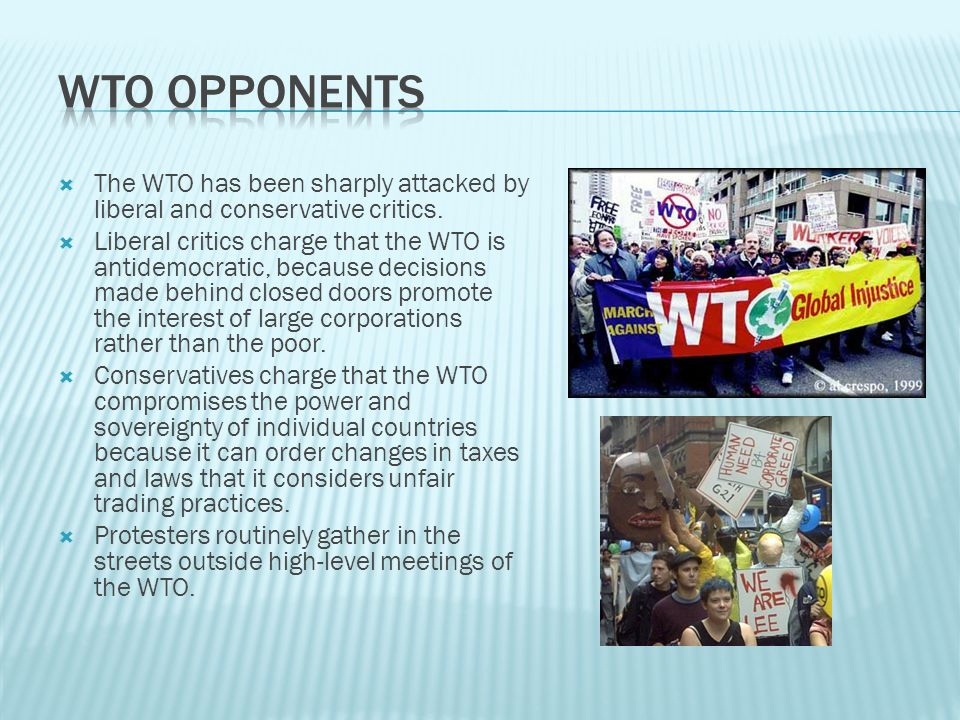 WTO Opponents The WTO has been sharply attacked by liberal and conservative critics.
