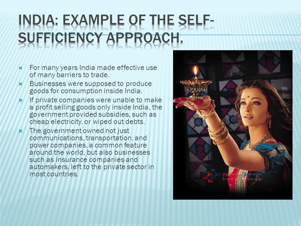 India: Example of the Self-Sufficiency Approach.
