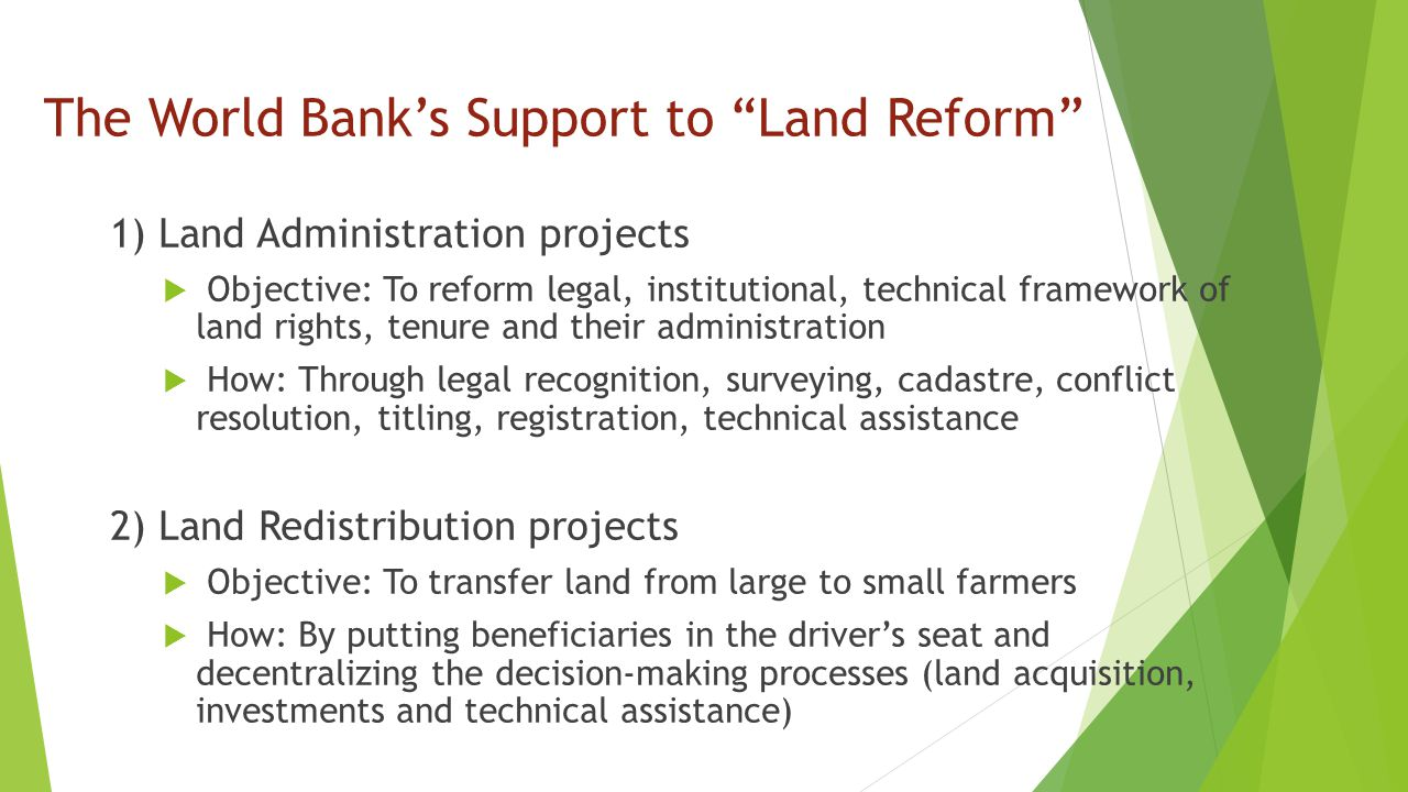 The World Bank's Support to Land Reform