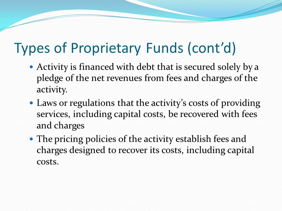 Types of Proprietary Funds (cont'd)