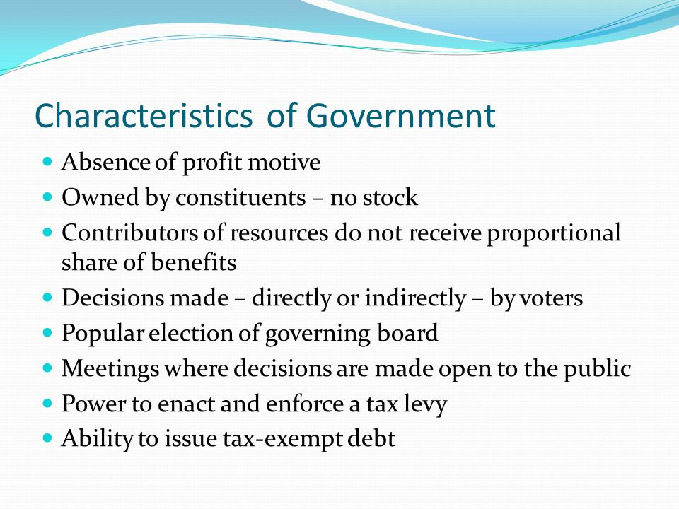 Characteristics of Government