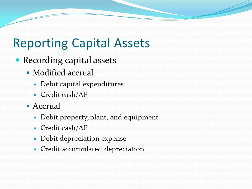 Reporting Capital Assets
