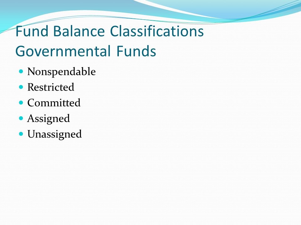 Fund Balance Classifications Governmental Funds