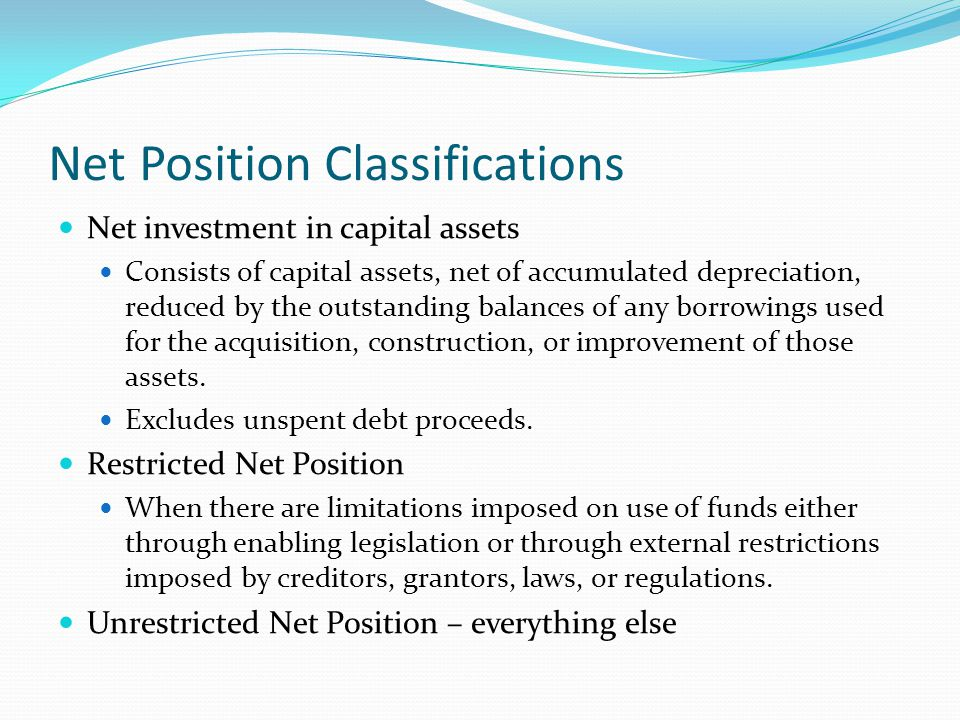 Net Position Classifications