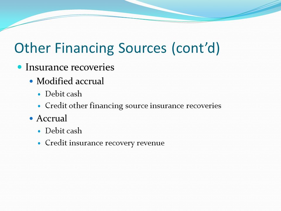 Other Financing Sources (cont'd)