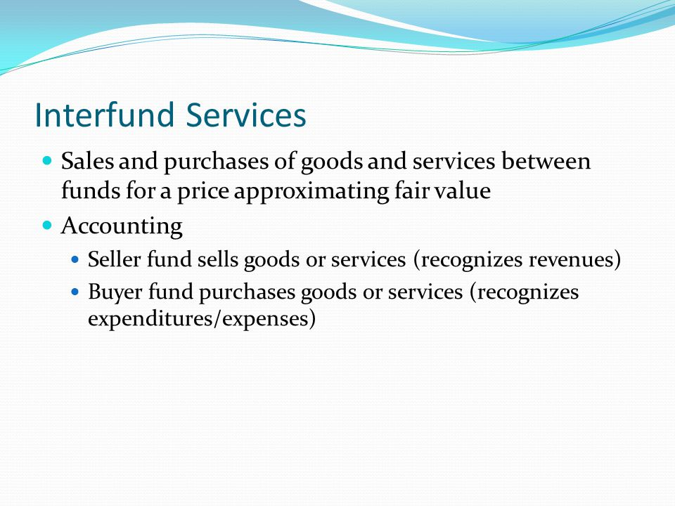 Interfund Services Sales and purchases of goods and services between funds for a price approximating fair value.
