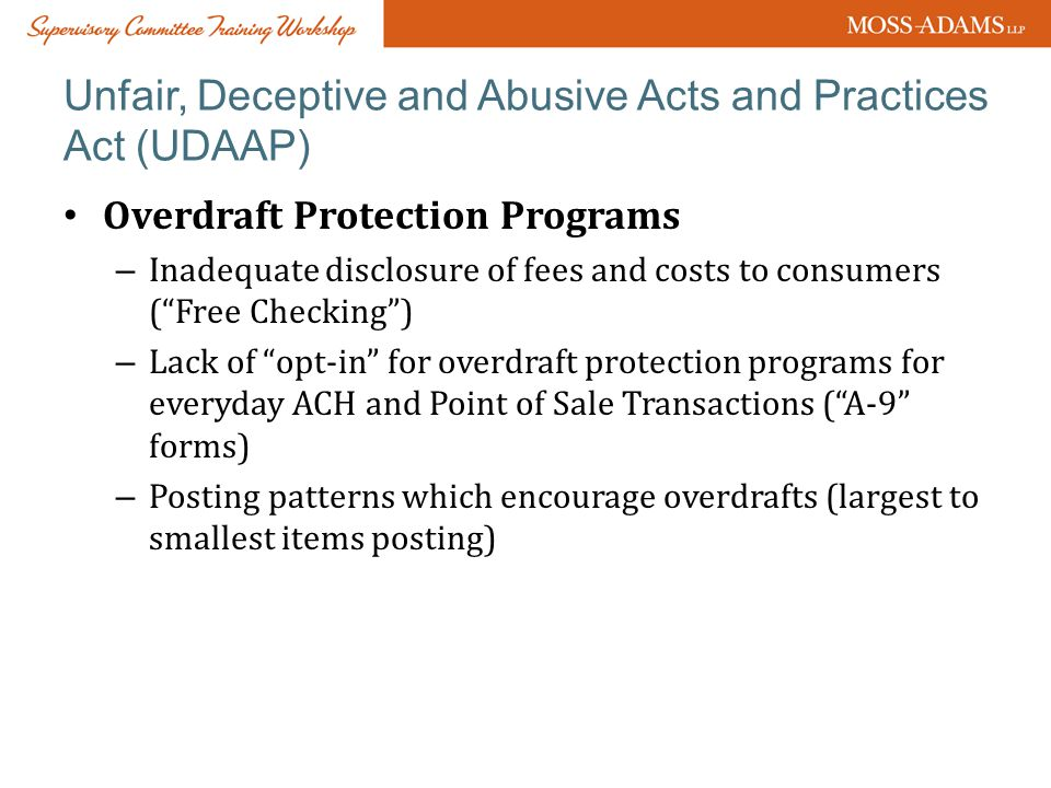 Unfair, Deceptive and Abusive Acts and Practices Act (UDAAP)