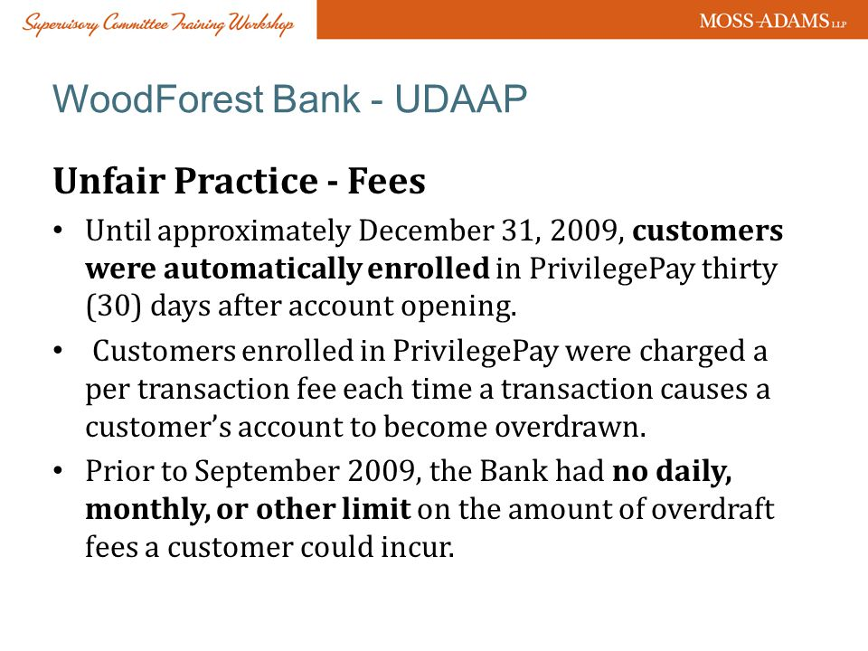 WoodForest Bank - UDAAP
