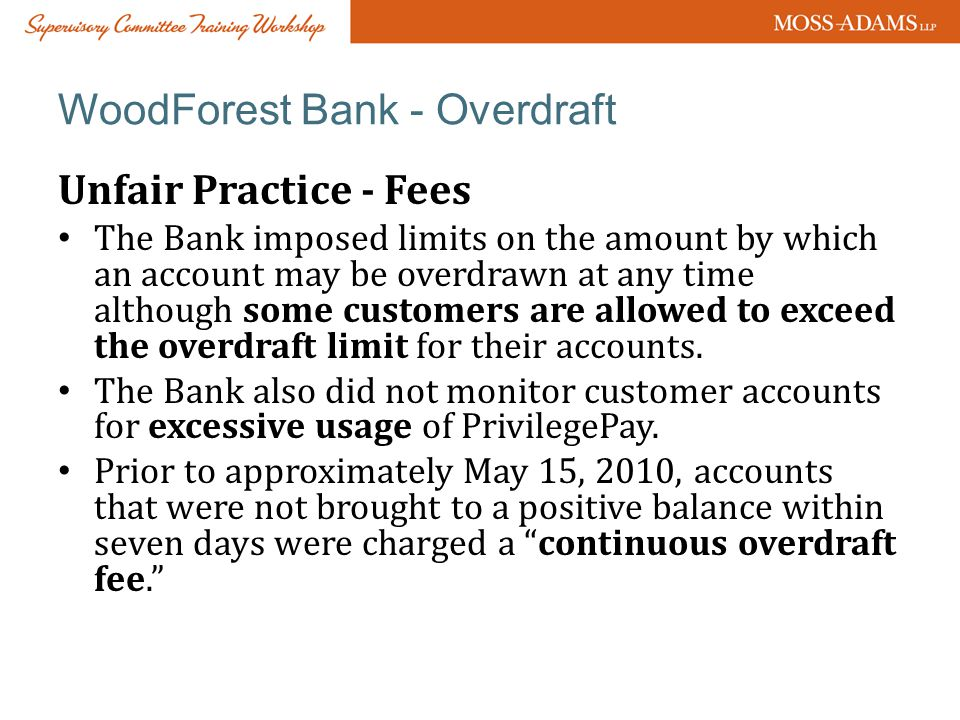 WoodForest Bank - Overdraft
