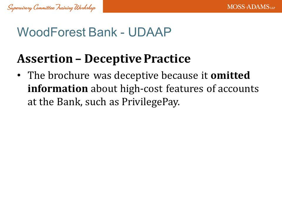 WoodForest Bank - UDAAP