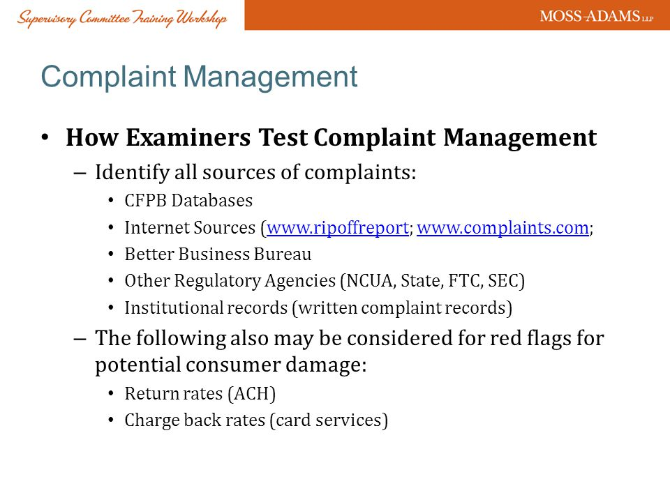 Complaint Management How Examiners Test Complaint Management