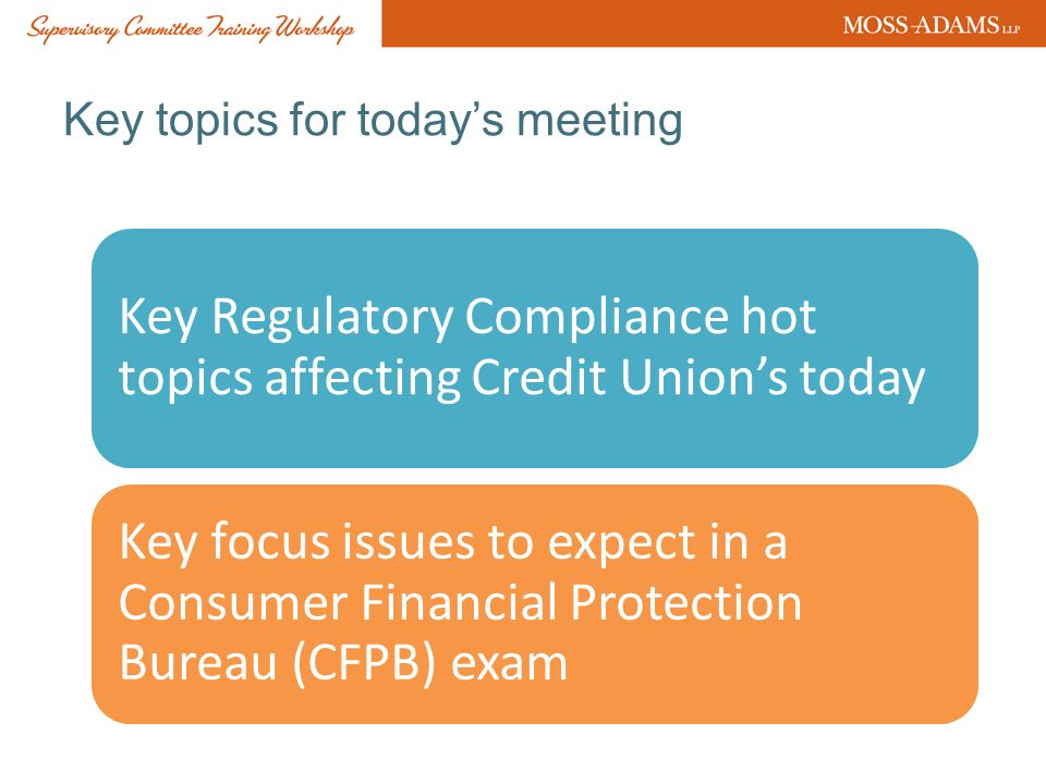 Key topics for today's meeting