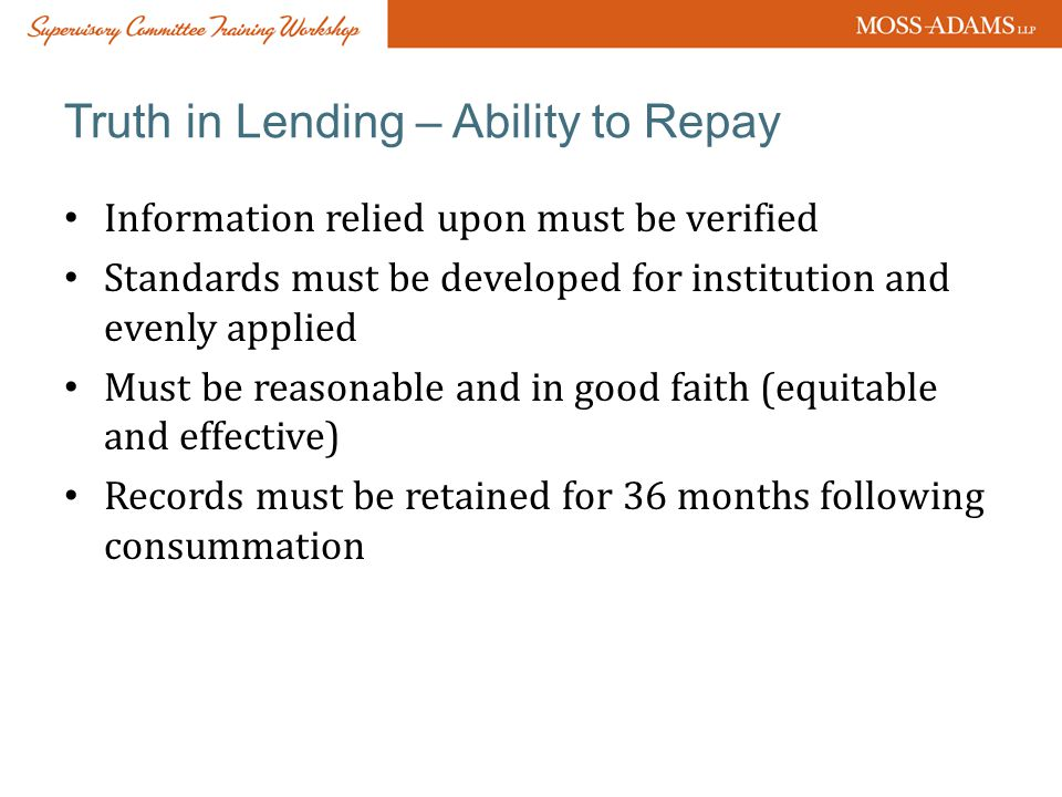 Truth in Lending – Ability to Repay