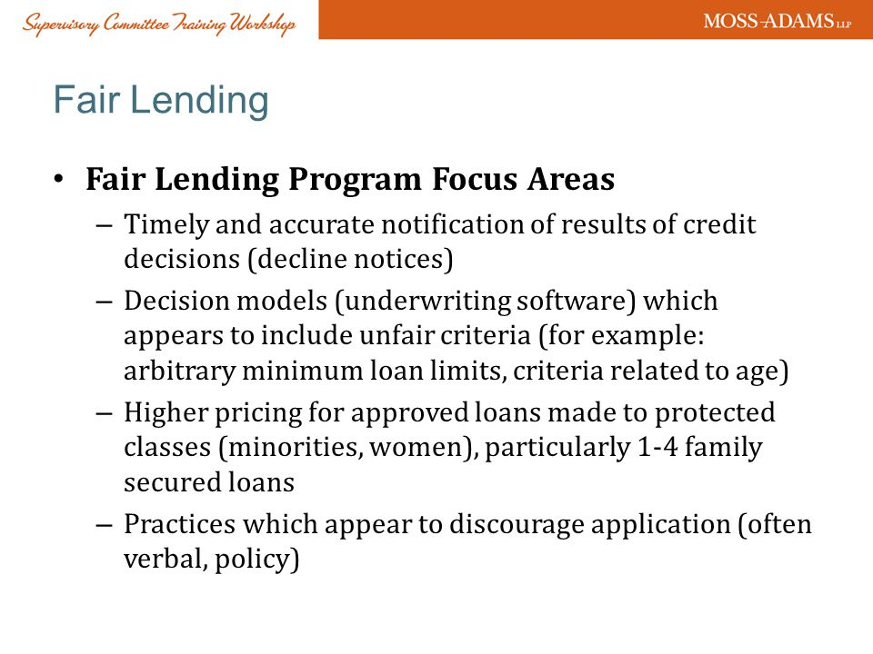 Fair Lending Fair Lending Program Focus Areas