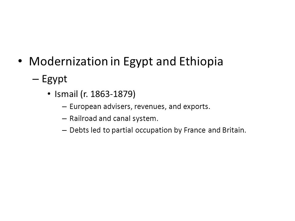 Modernization in Egypt and Ethiopia