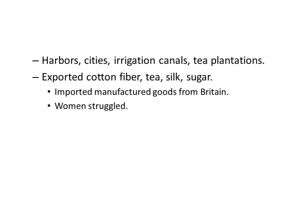 Harbors, cities, irrigation canals, tea plantations.
