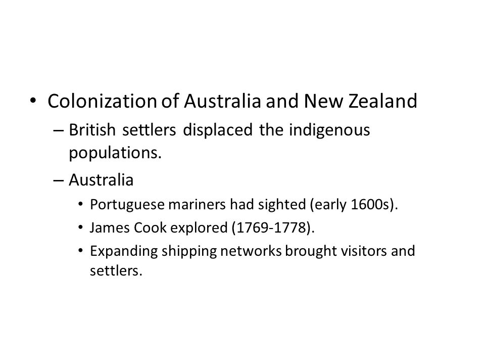 Colonization of Australia and New Zealand
