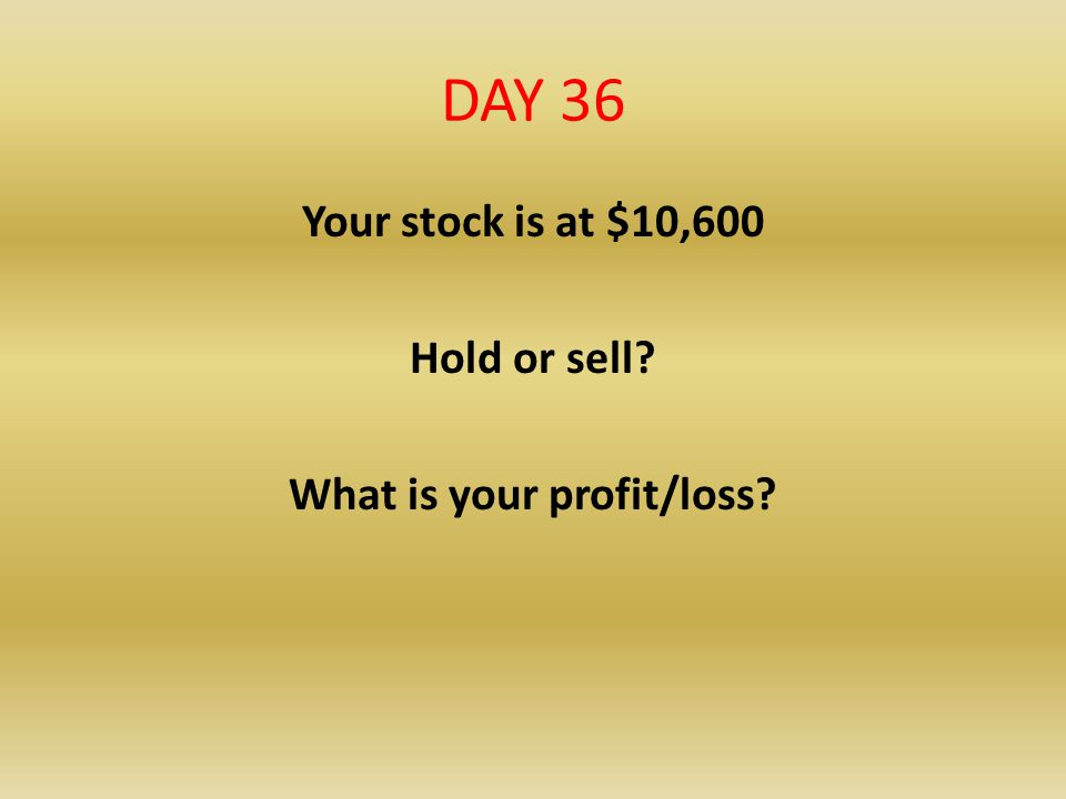 Your stock is at $10,600 Hold or sell What is your profit/loss