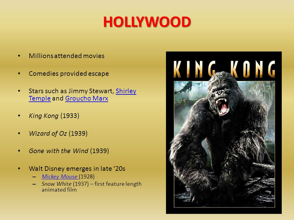 HOLLYWOOD Millions attended movies Comedies provided escape