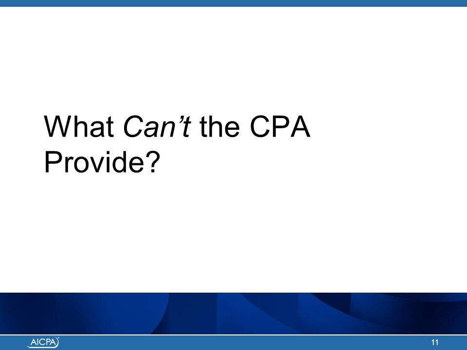 What Can't the CPA Provide