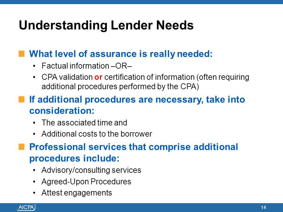 Understanding Lender Needs