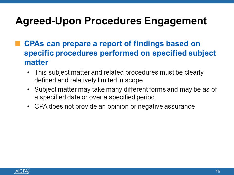 Agreed-Upon Procedures Engagement