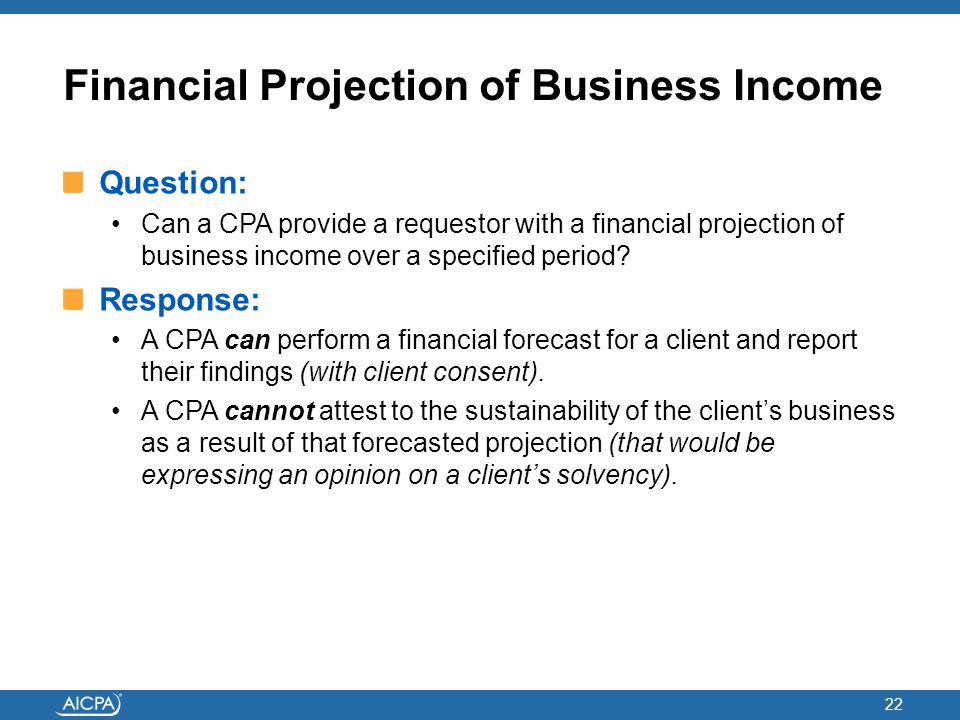 Financial Projection of Business Income