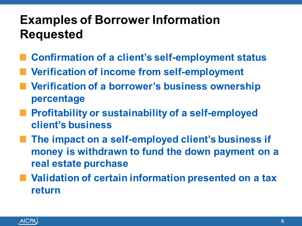 Examples of Borrower Information Requested