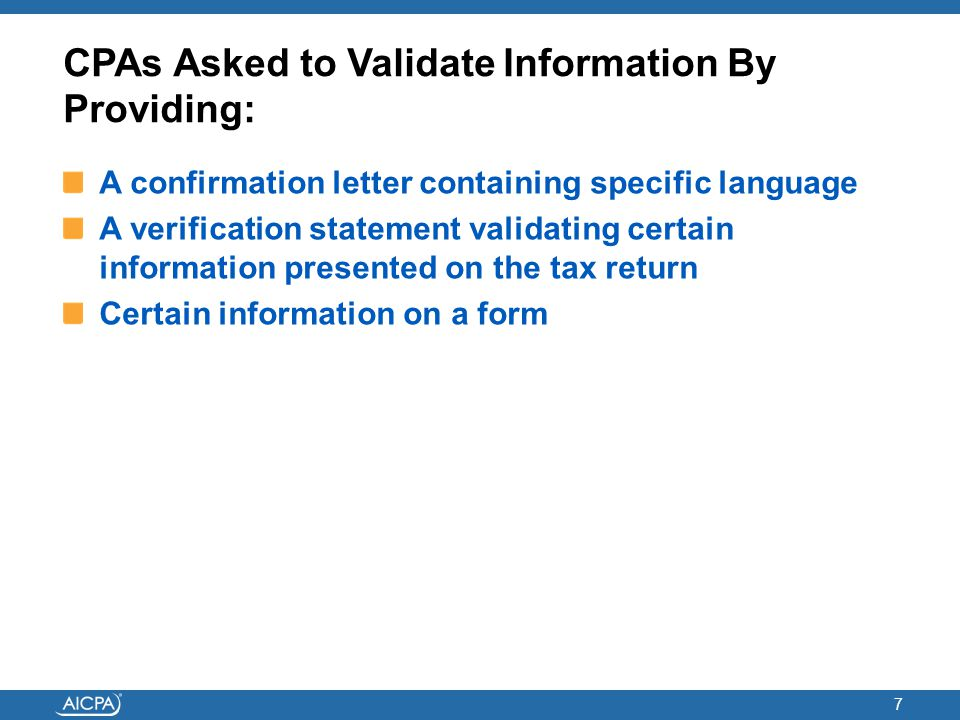 CPAs Asked to Validate Information By Providing: