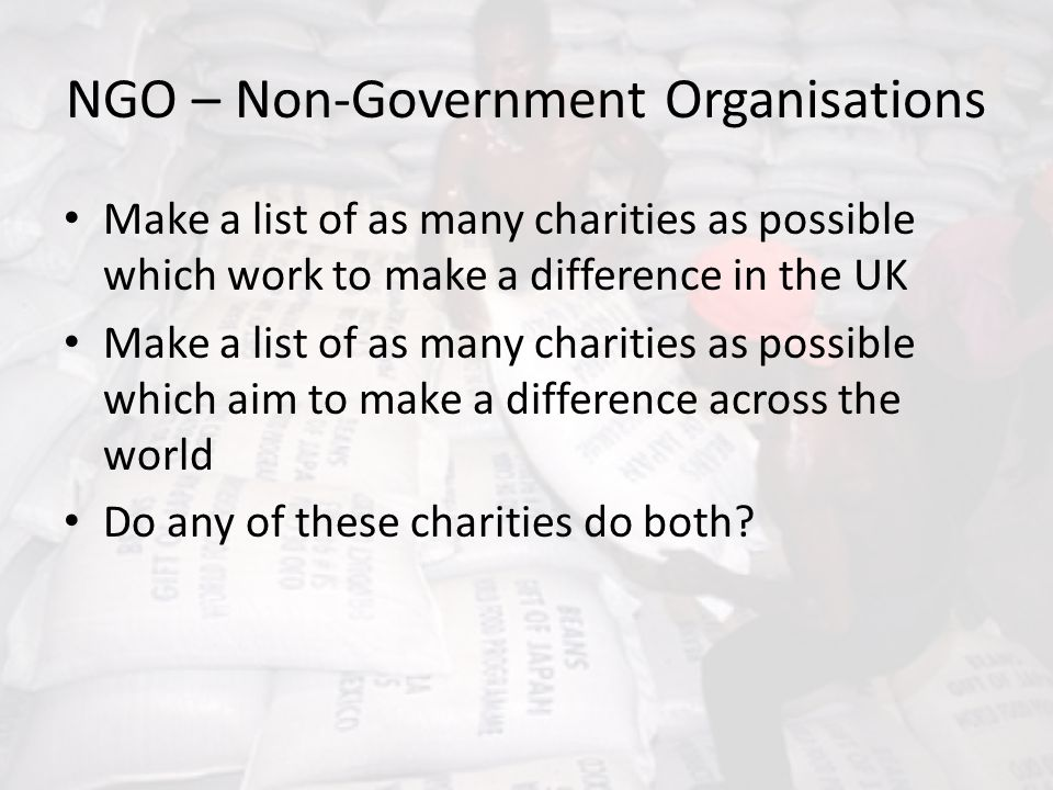 NGO – Non-Government Organisations
