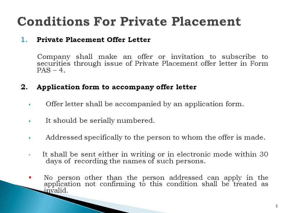 Conditions For Private Placement