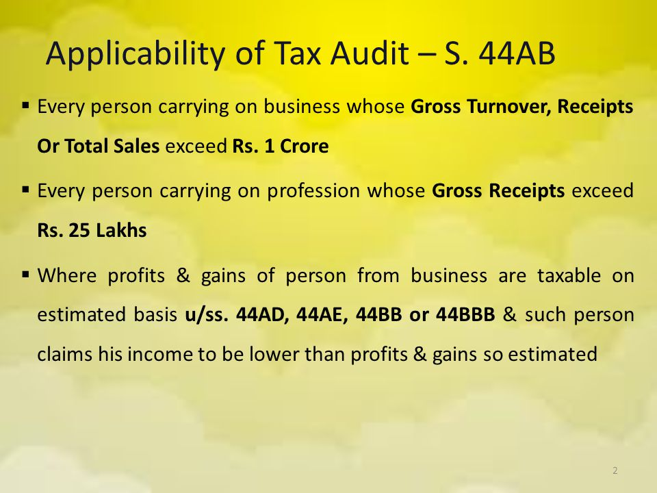 Applicability of Tax Audit – S. 44AB