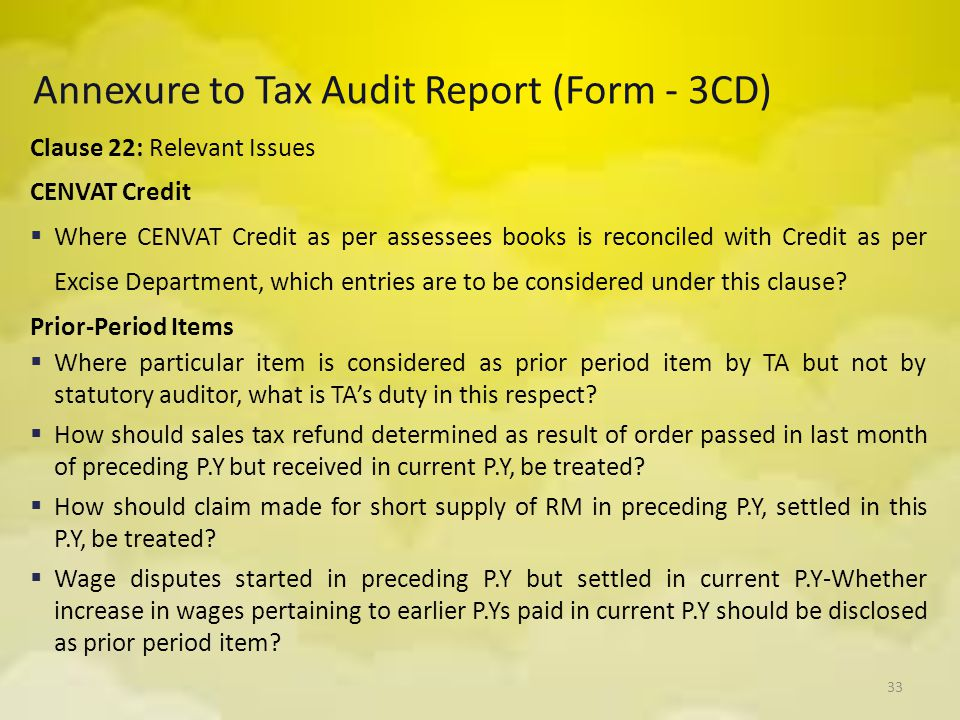 Annexure to Tax Audit Report (Form - 3CD)