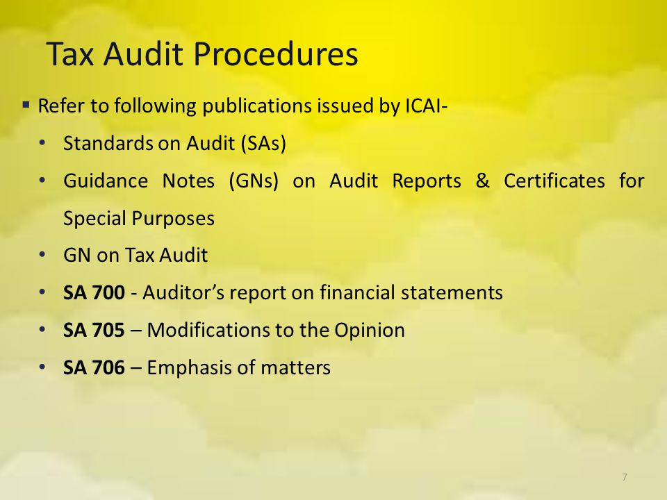 Tax Audit Procedures Refer to following publications issued by ICAI-