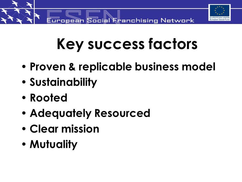 Key success factors Proven & replicable business model Sustainability