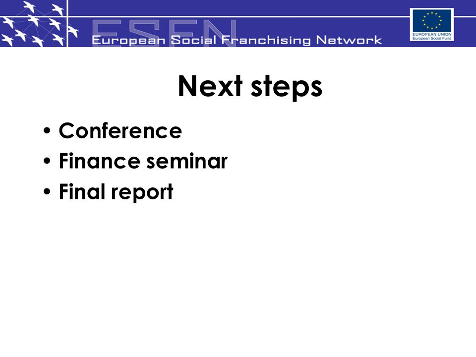 Next steps Conference Finance seminar Final report