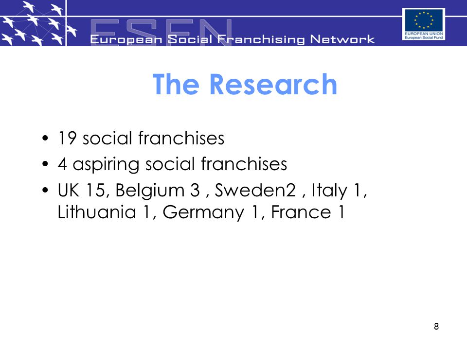 The Research 19 social franchises 4 aspiring social franchises