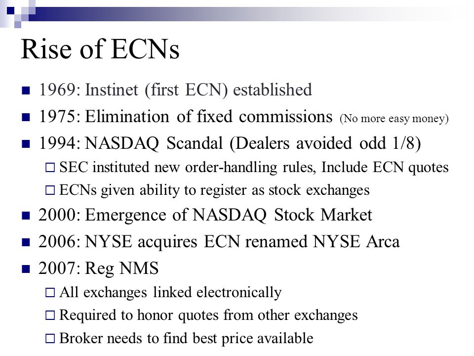 Rise of ECNs 1969: Instinet (first ECN) established