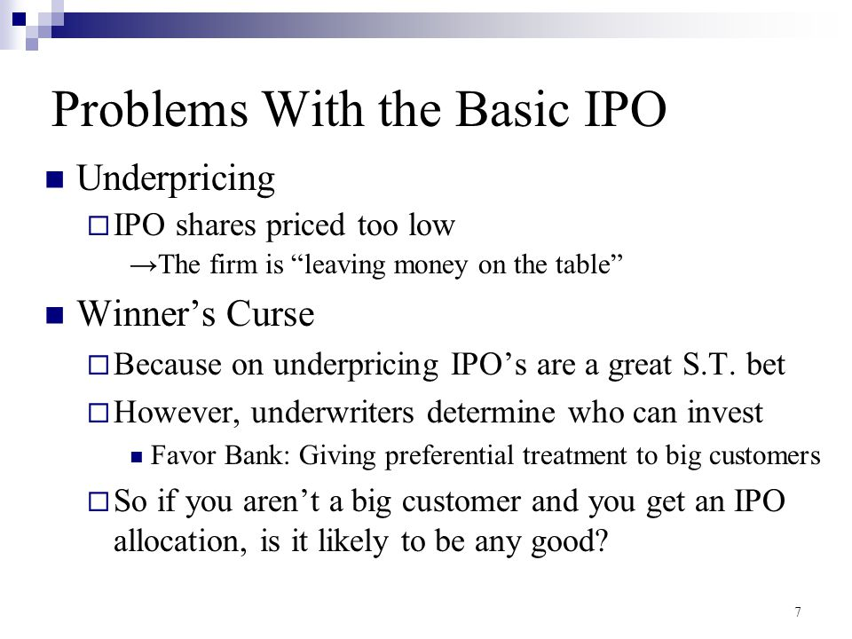 Problems With the Basic IPO