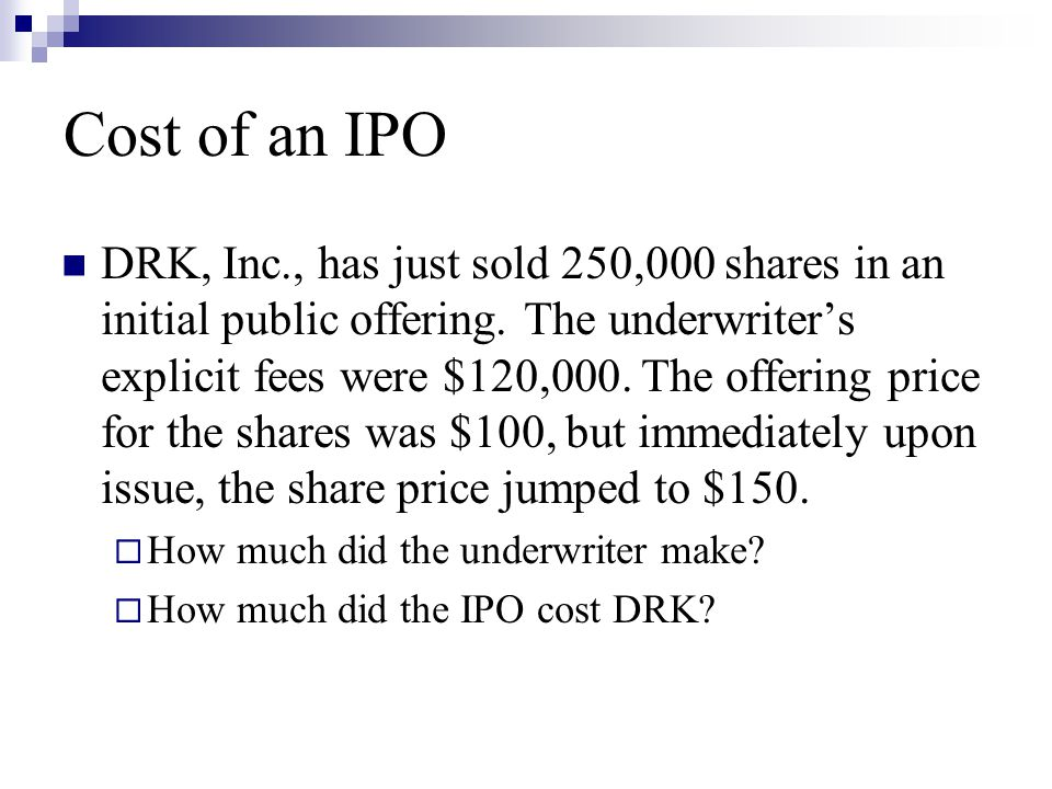 Cost of an IPO