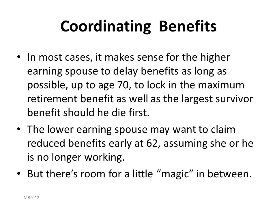 Coordinating Benefits