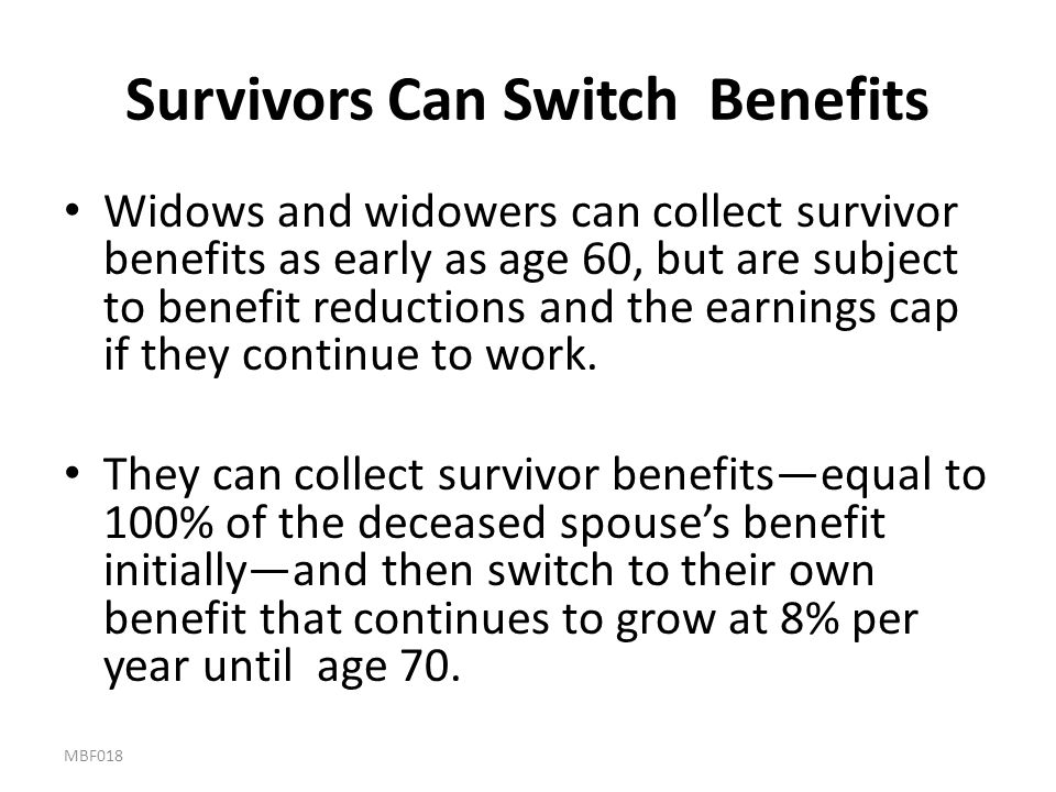 Survivors Can Switch Benefits