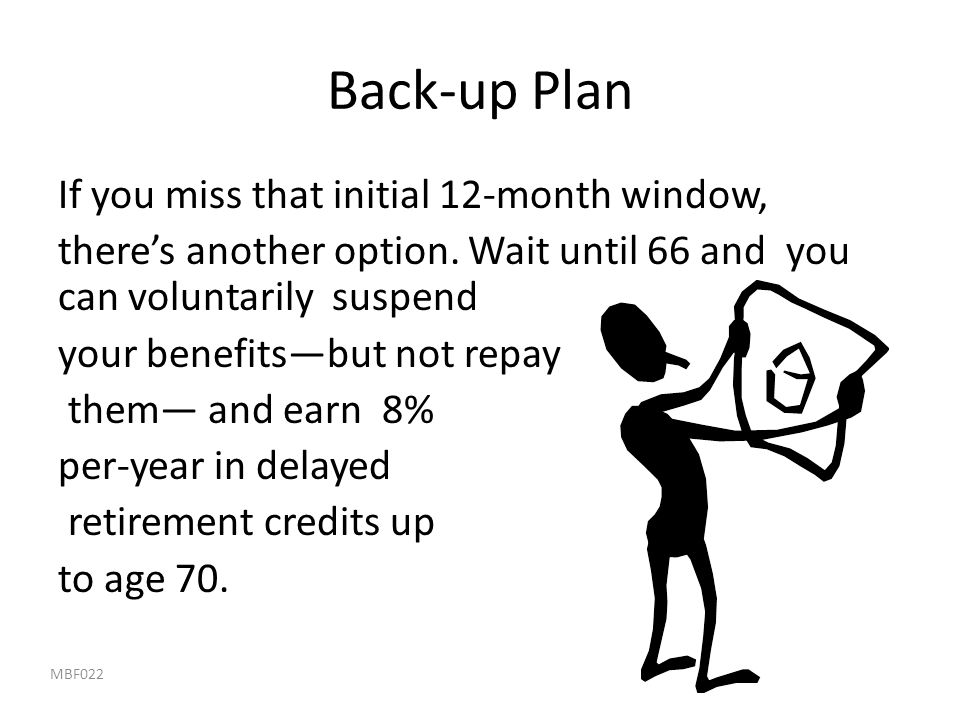 Back-up Plan If you miss that initial 12-month window,