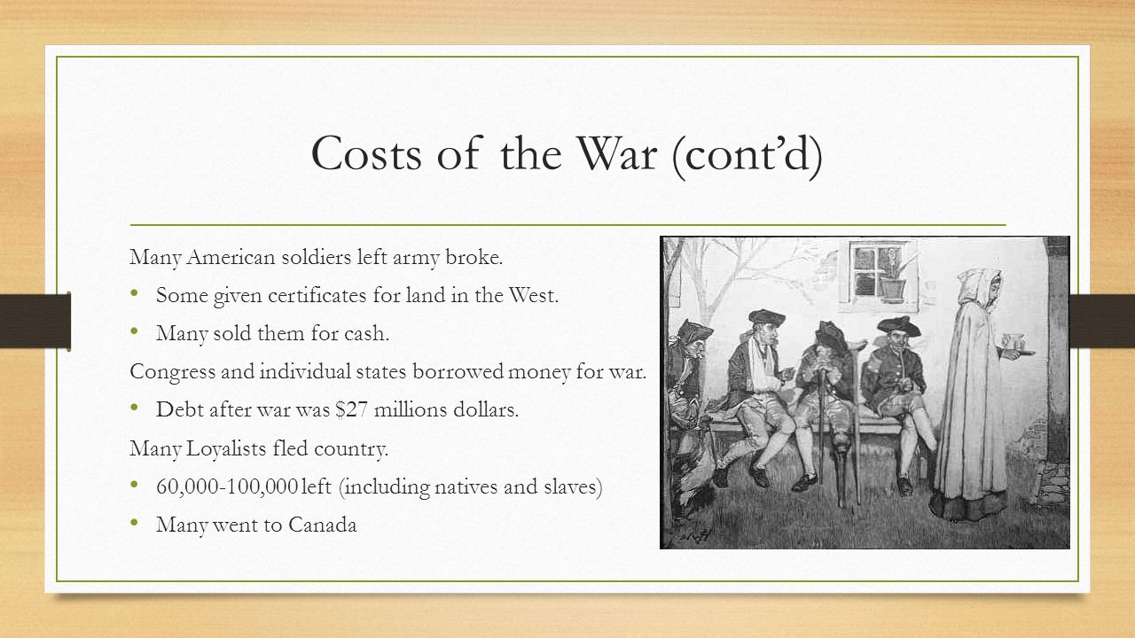 Costs of the War (cont'd)