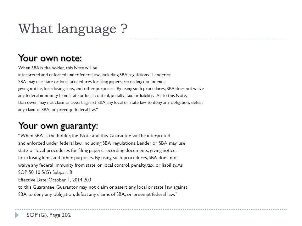 What language Your own note: Your own guaranty: SOP (G), Page 202