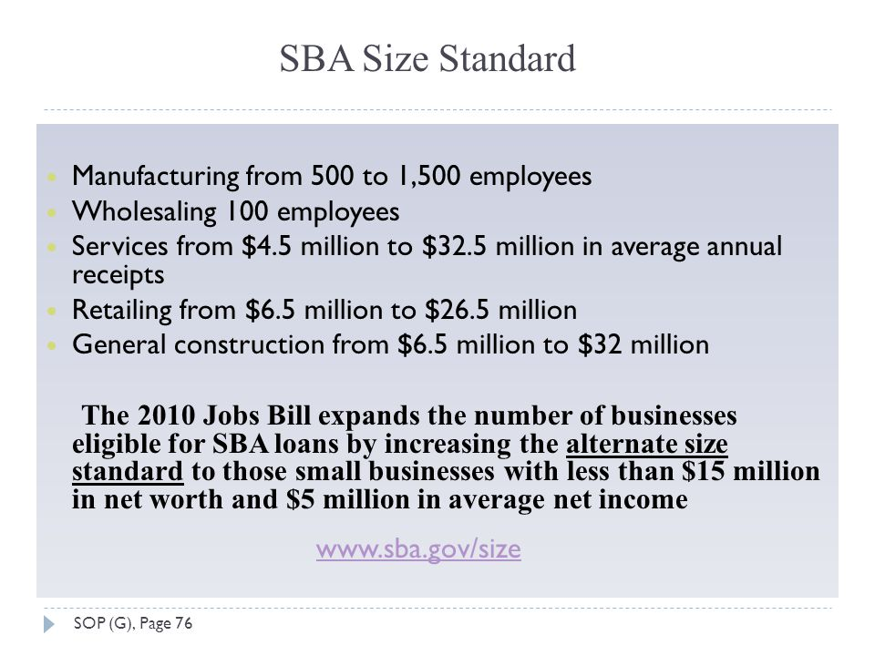 SBA Size Standard Manufacturing from 500 to 1,500 employees