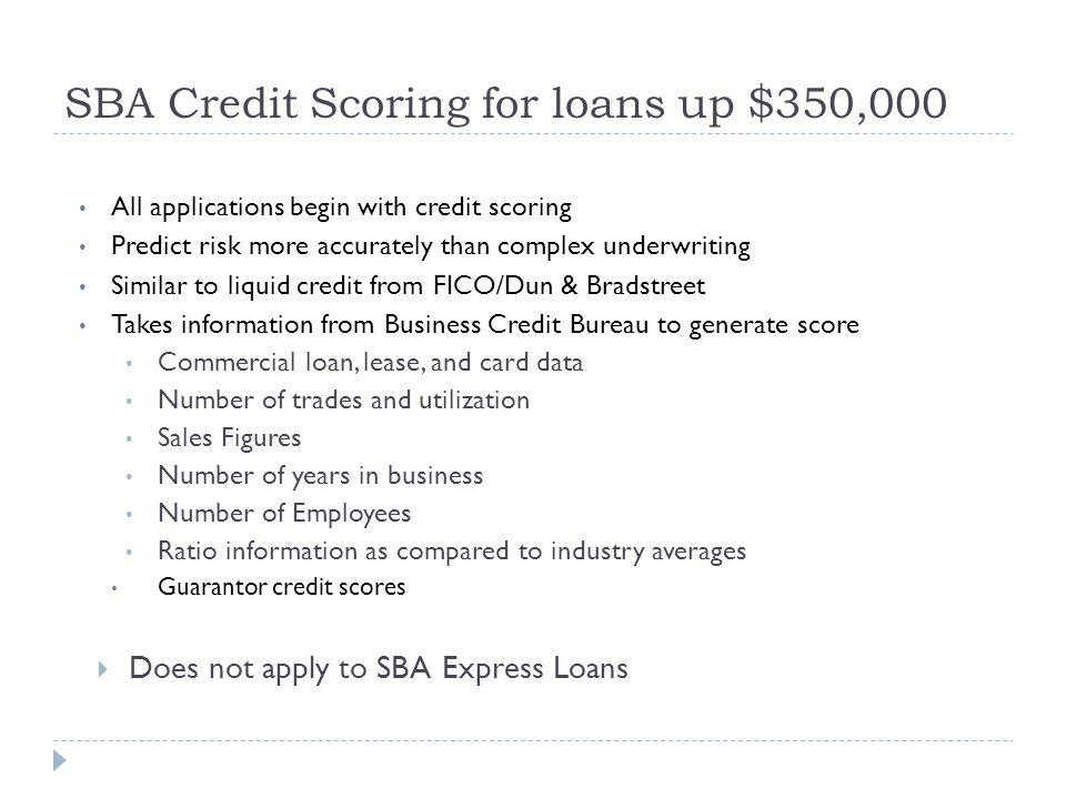 SBA Credit Scoring for loans up $350,000