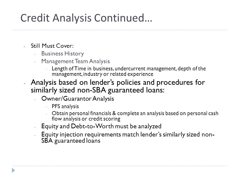 Credit Analysis Continued…