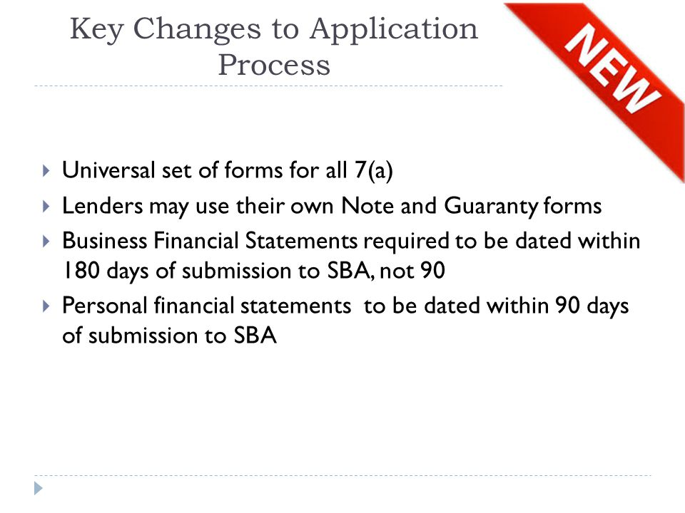 Key Changes to Application Process